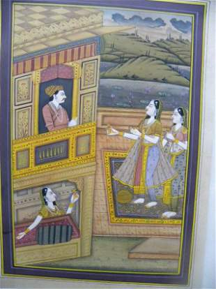MUGHAL EMPEROR MINITURE PAPER PAINTING PRE 1940