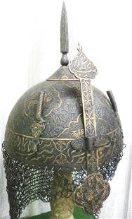 RARE MUGHAL WARRIOR HELMET WITH FRENCH STYLE 8 BIRDS