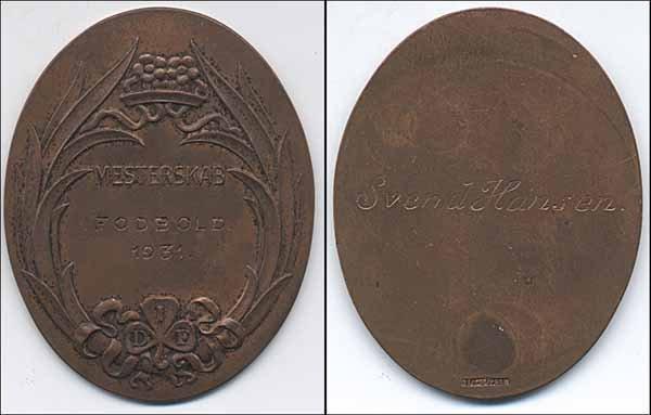 7010: Football championsmedal 1931 - Danemark