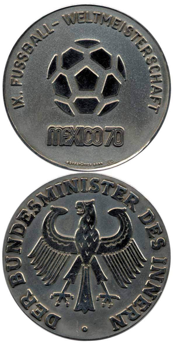 7014: World Cup 1970 - Rare Silvermedal of the Minister