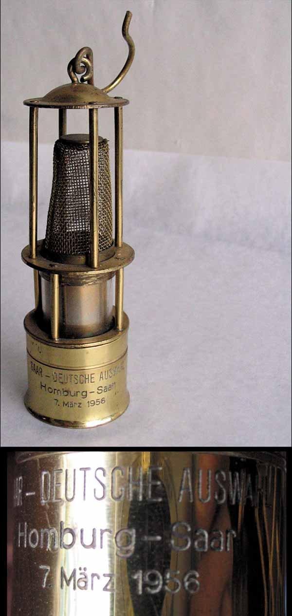 7019: Brass miner´s lamp. Football Germany vs Saar 1956