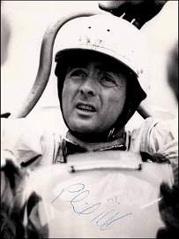 8028: Formel 1 pressphoto autograph Phil Hill