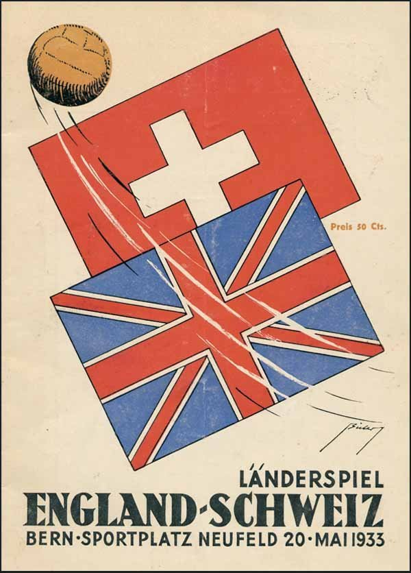 1422: Football Programm 1933. Switzerland v England