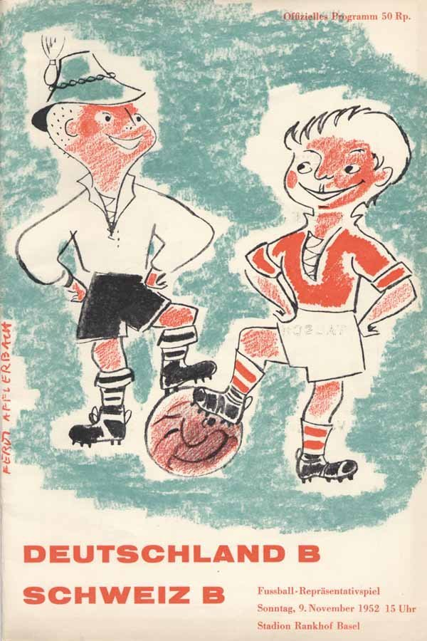 1480: Football Programm 1952 Germany B vs Switzerland B