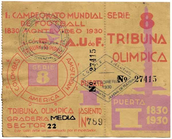 1013: Ticket World Cup 1930. Final Argentina v Uruguay
