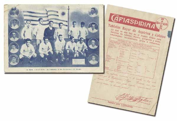 "1019: World Cup 1930. Postcard Uruguay by ""Bayer"""