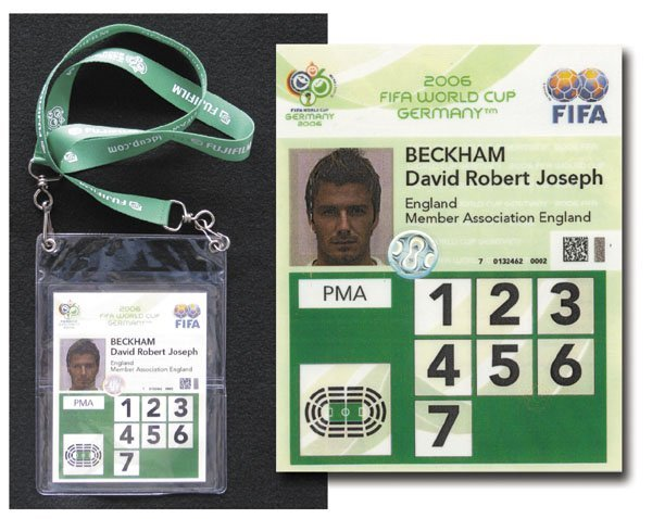 7001: World Cup 2006 Identity Card from David Beckham