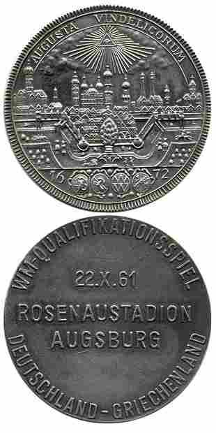 7017: Football Silver medal Germany vs Greece 1961