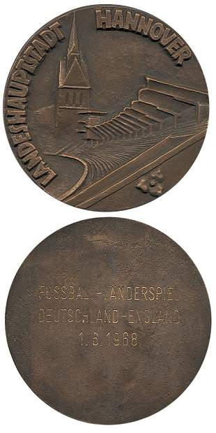 7018: Football medal Germany vs England 1968