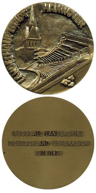 7021: Rare football medal Germany vs Austria 1973