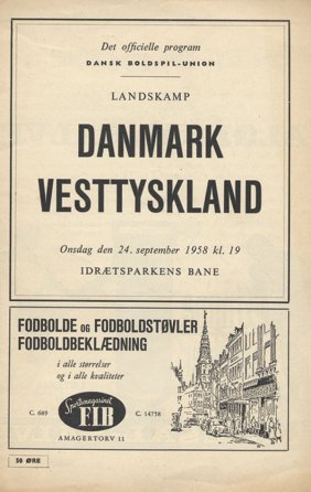 Football Programm 1958. Danmark V Germany