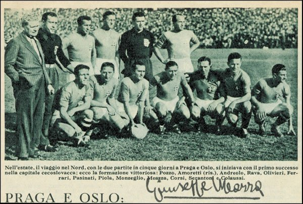 7587: World Cup 1934 Original Autograph Guiseppe Meazza