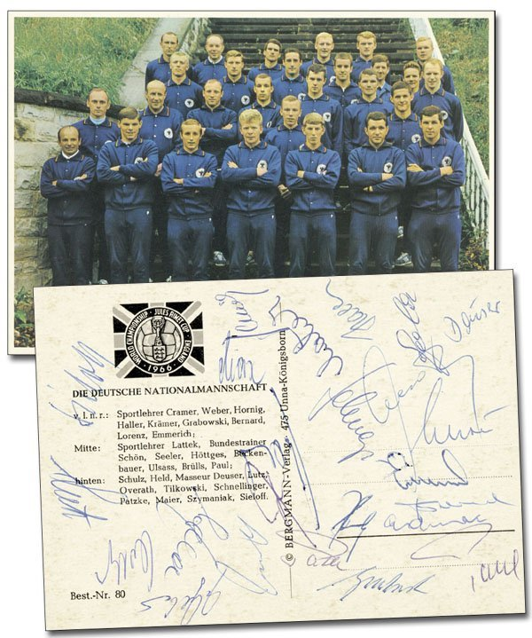 7598: World Cup 1966. Autographed German team card