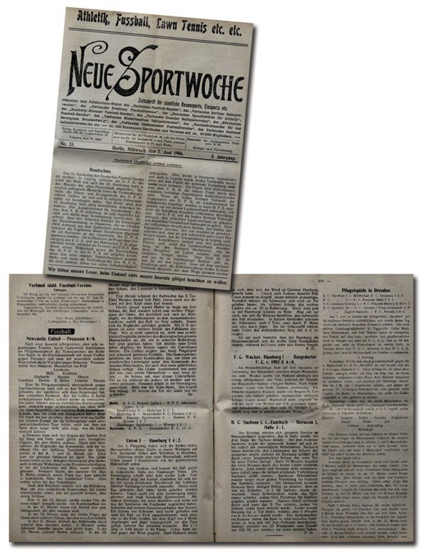 7008: Rare German Football Magazin Neue Sportwoche 1906