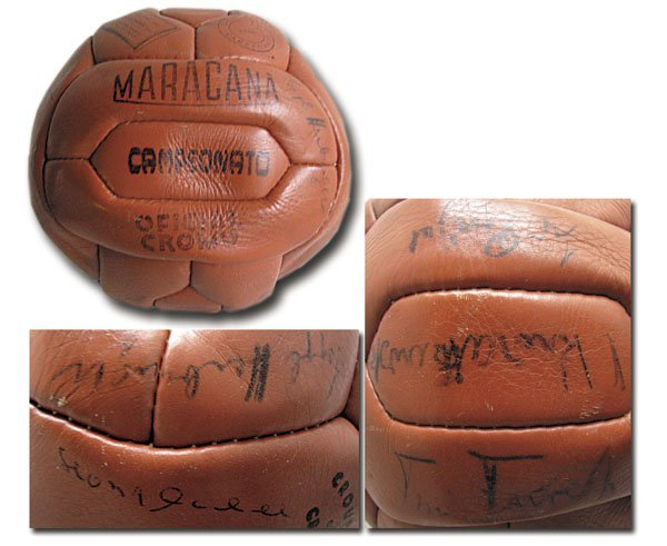 7017: World Cup 1954. Leather football with autographs