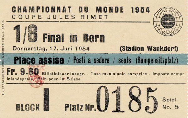 World Cup 1954. Ticket Germany v Turkey