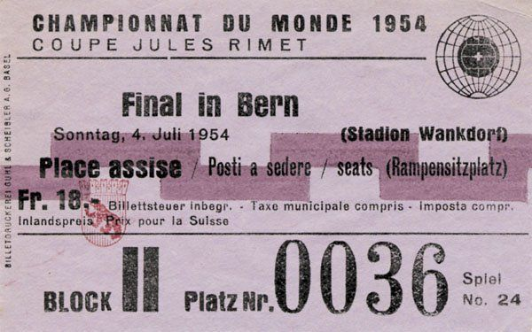 7106: World Cup 1954. Final Ticket Germany vs Hungary