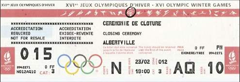 8041: Olympic Games Albertville 1992. Ticket Closing ce