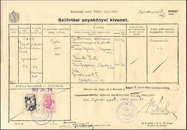 4534: Guttmann - Geburtsurkunde