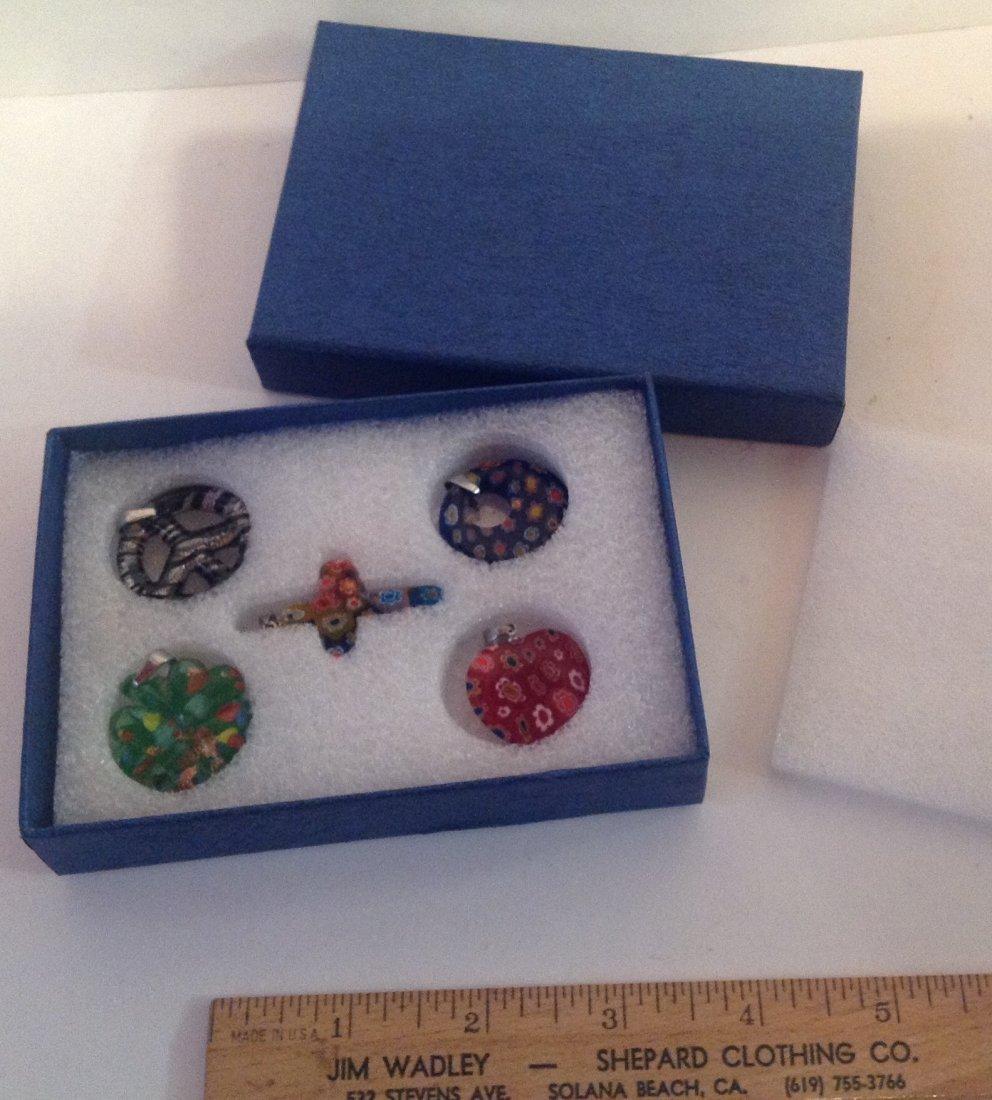 Estate lot of 5 Venetia style murano glass pendants (S) - 6