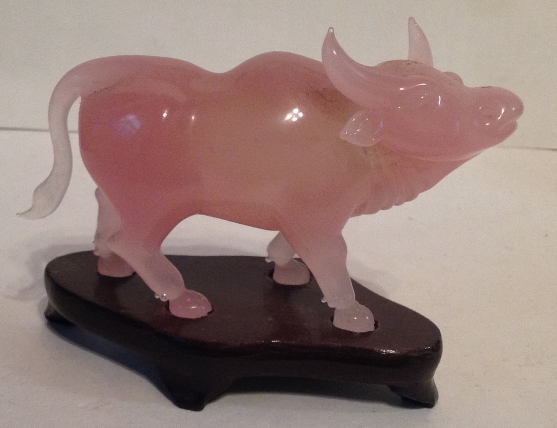 Estate vintage oriental pink stone oxen carving