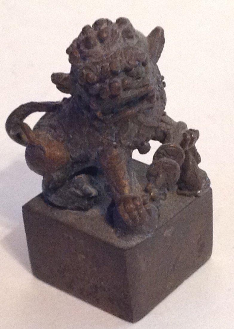 Estate antique miniature bronze Foo Dog figurine