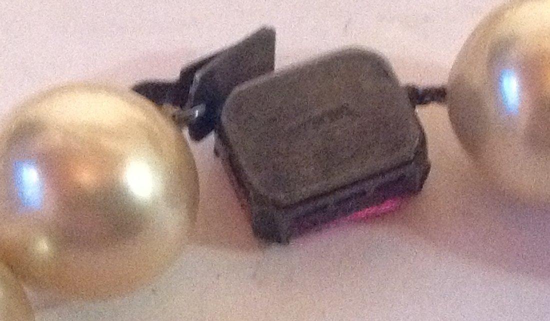 Estate vintage large pearl Sterling clasp choker (S) - 2