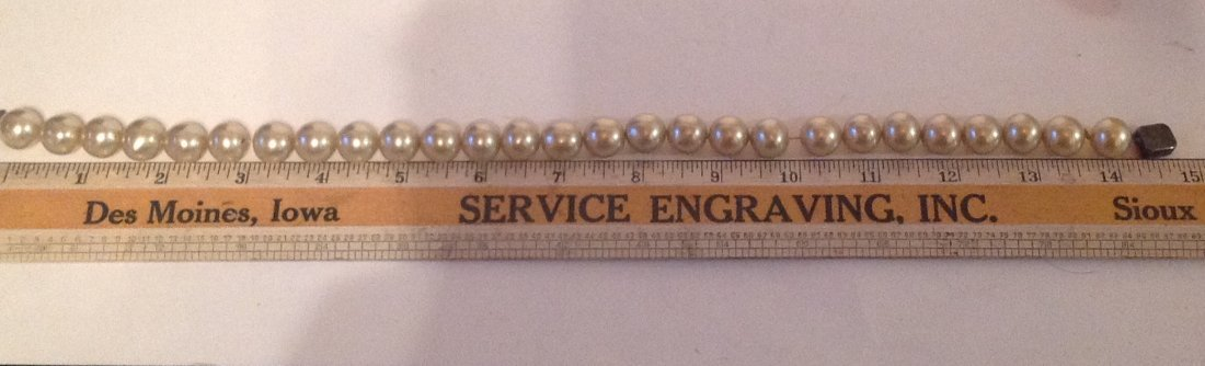 Estate vintage large pearl Sterling clasp choker (S) - 4
