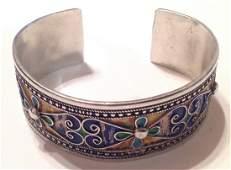 estate vintage Sterling silver enamel cuff bracelet (S)