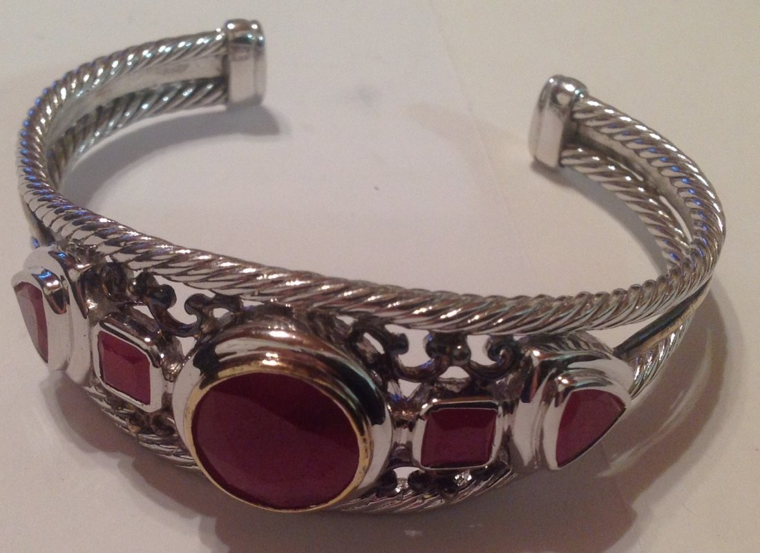 estate vintage Sterling thailand cuff bracelet (S)