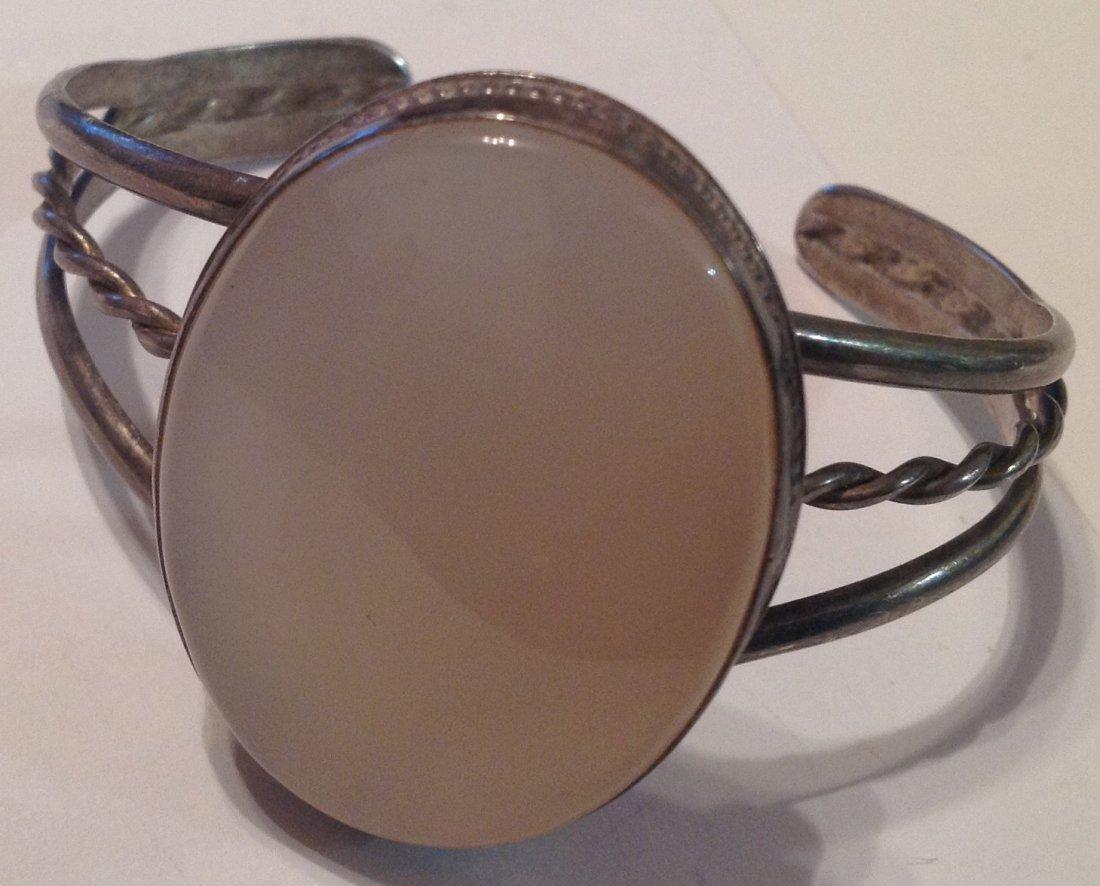 estate vintage Sterling large stone cuff bracelet (S)