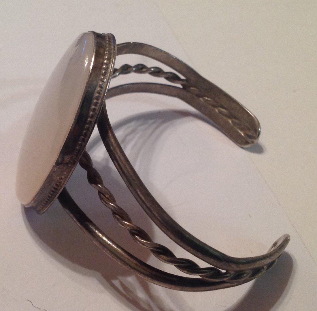 estate vintage Sterling large stone cuff bracelet (S) - 2