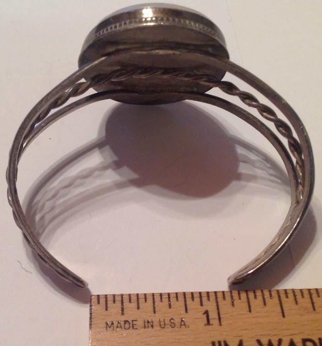 estate vintage Sterling large stone cuff bracelet (S) - 3