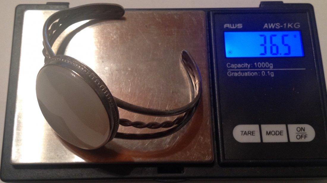 estate vintage Sterling large stone cuff bracelet (S) - 5