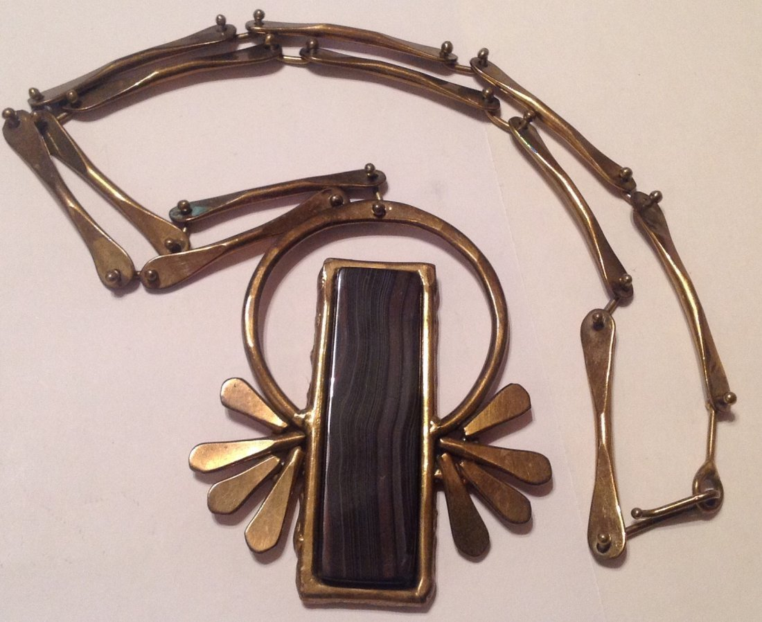 estate vintage brutalist modernist bronze necklace (S)