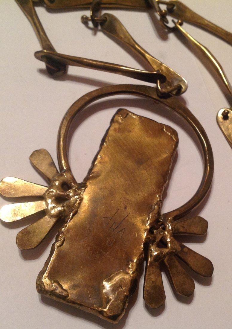 estate vintage brutalist modernist bronze necklace (S) - 3