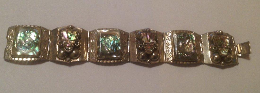 vintage Mexico Sterling large Panel bracelet (S)