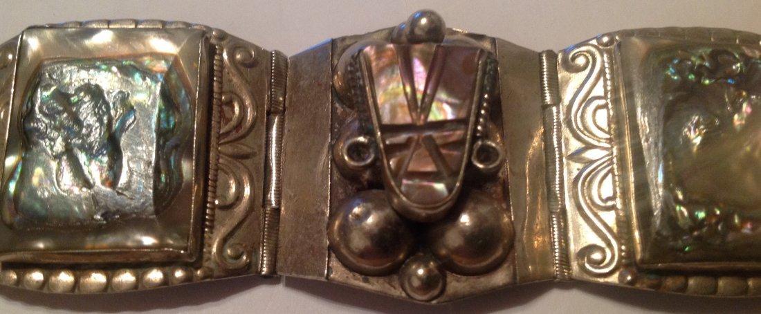 vintage Mexico Sterling large Panel bracelet (S) - 4