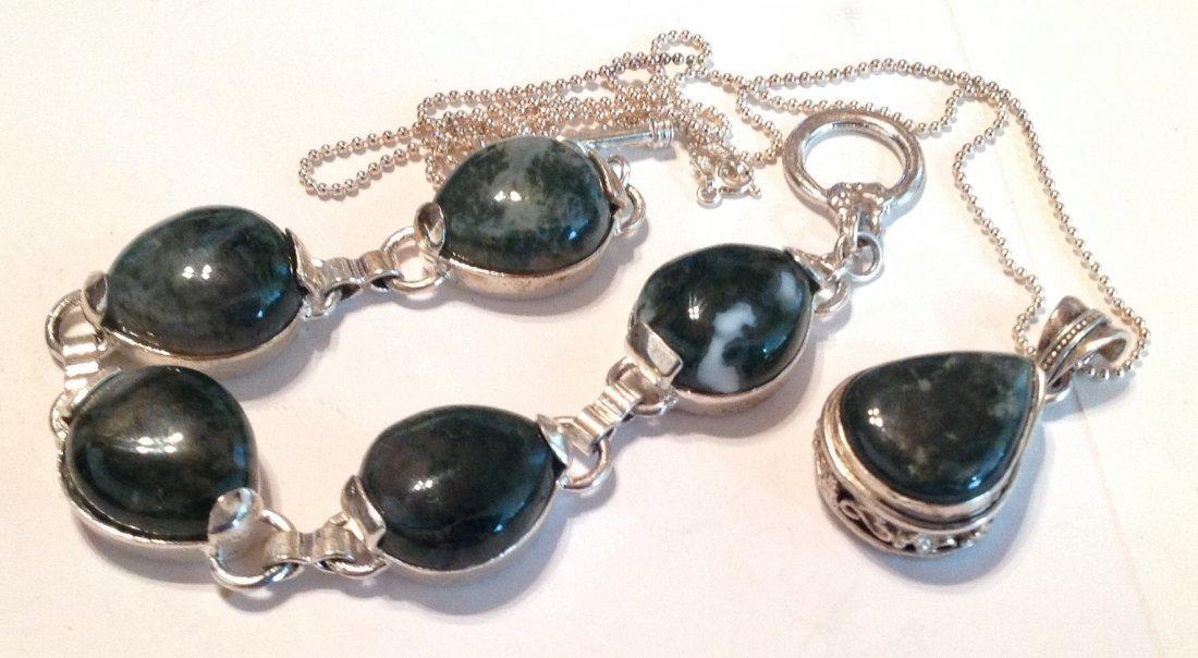 Estate Sterling Moss agate bracelet necklace set (S)