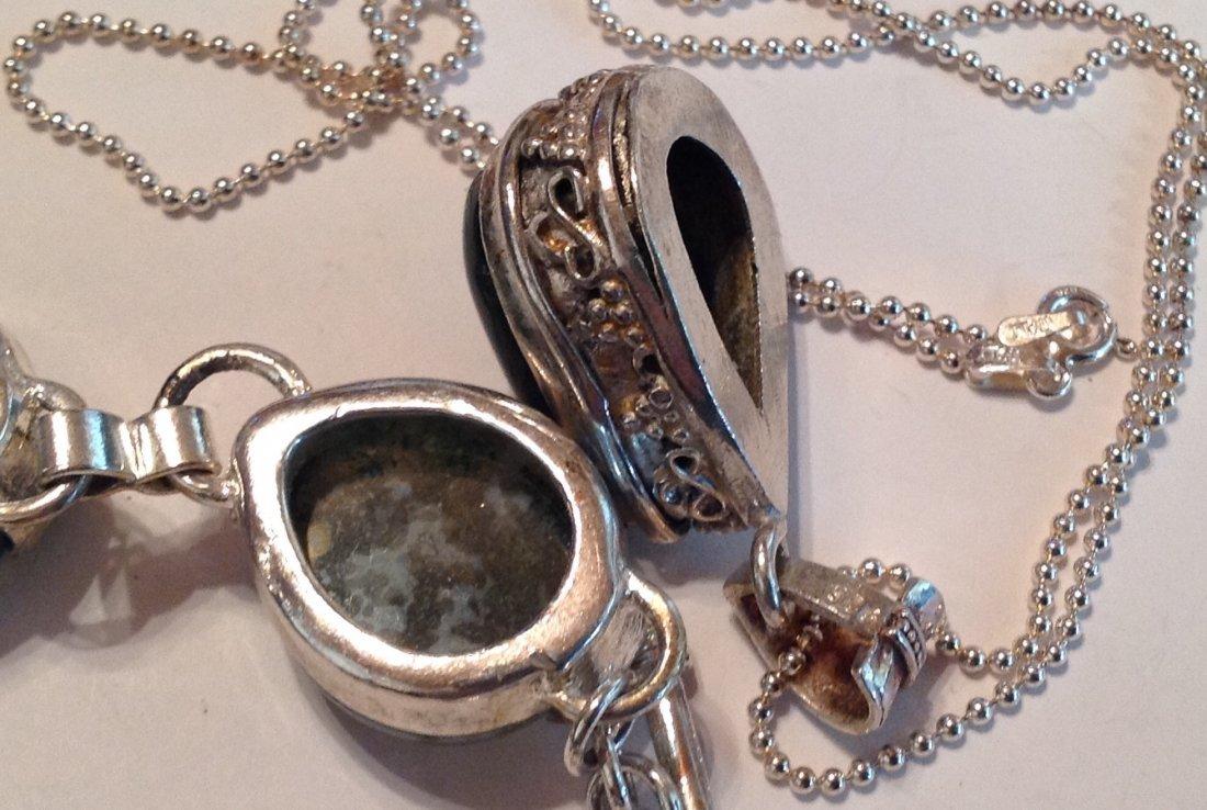 Estate Sterling Moss agate bracelet necklace set (S) - 3