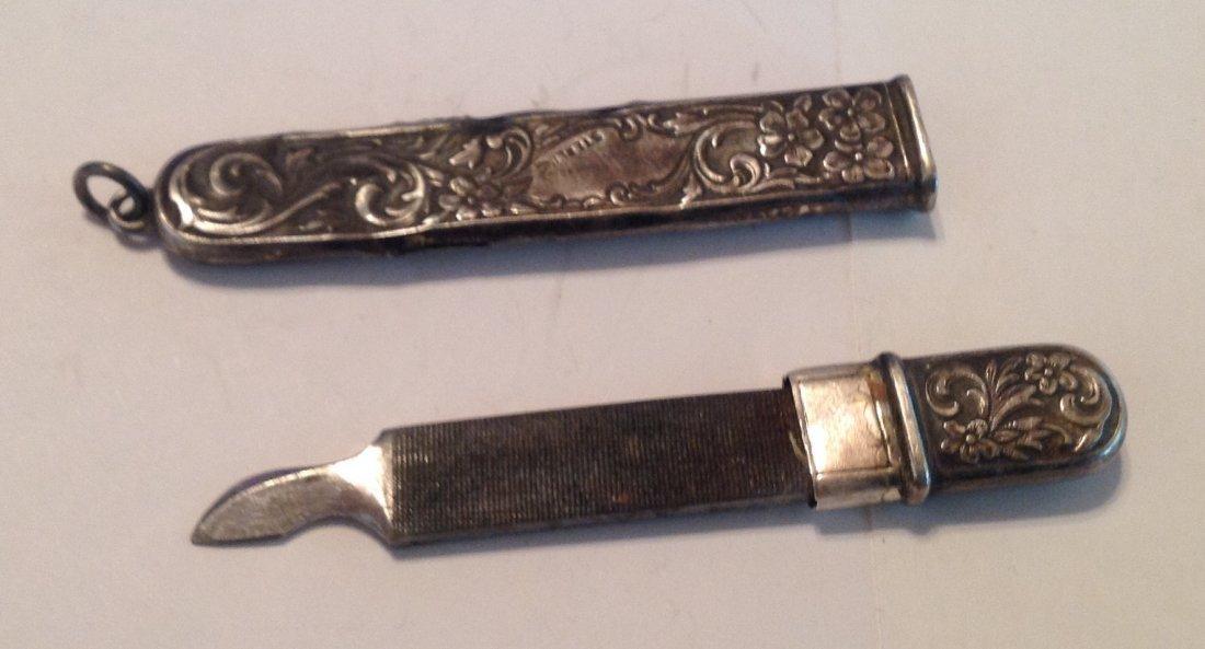 Estate antique Sterling silver repousse file   (S) - 3