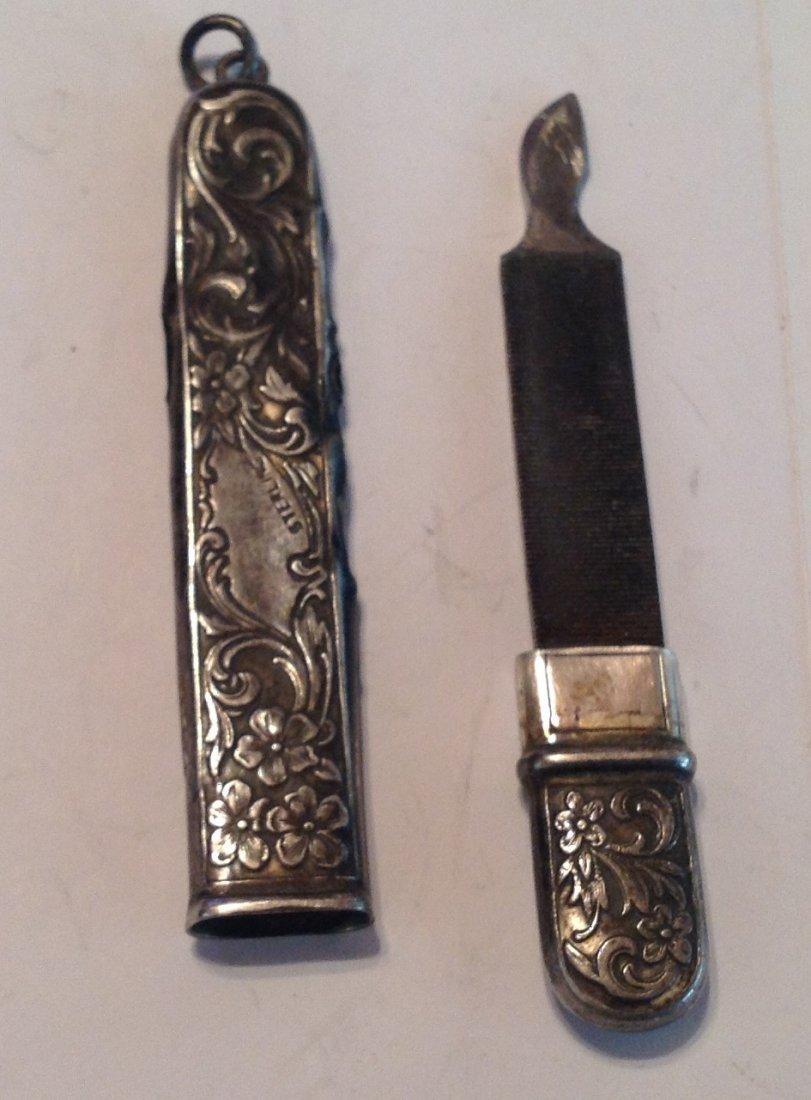 Estate antique Sterling silver repousse file   (S) - 4