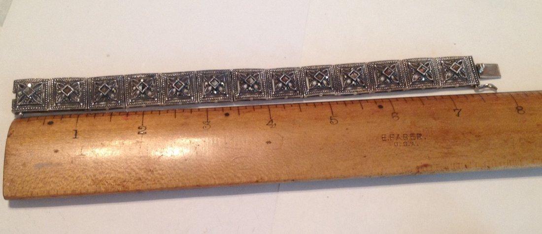 Estate vintage Sterling DBJ Thai panel bracelet (S) - 2