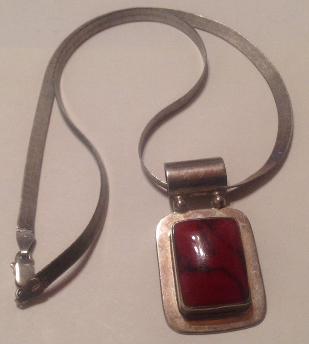 Estate Mexico Sterling huge gemstone slider pendant (S)