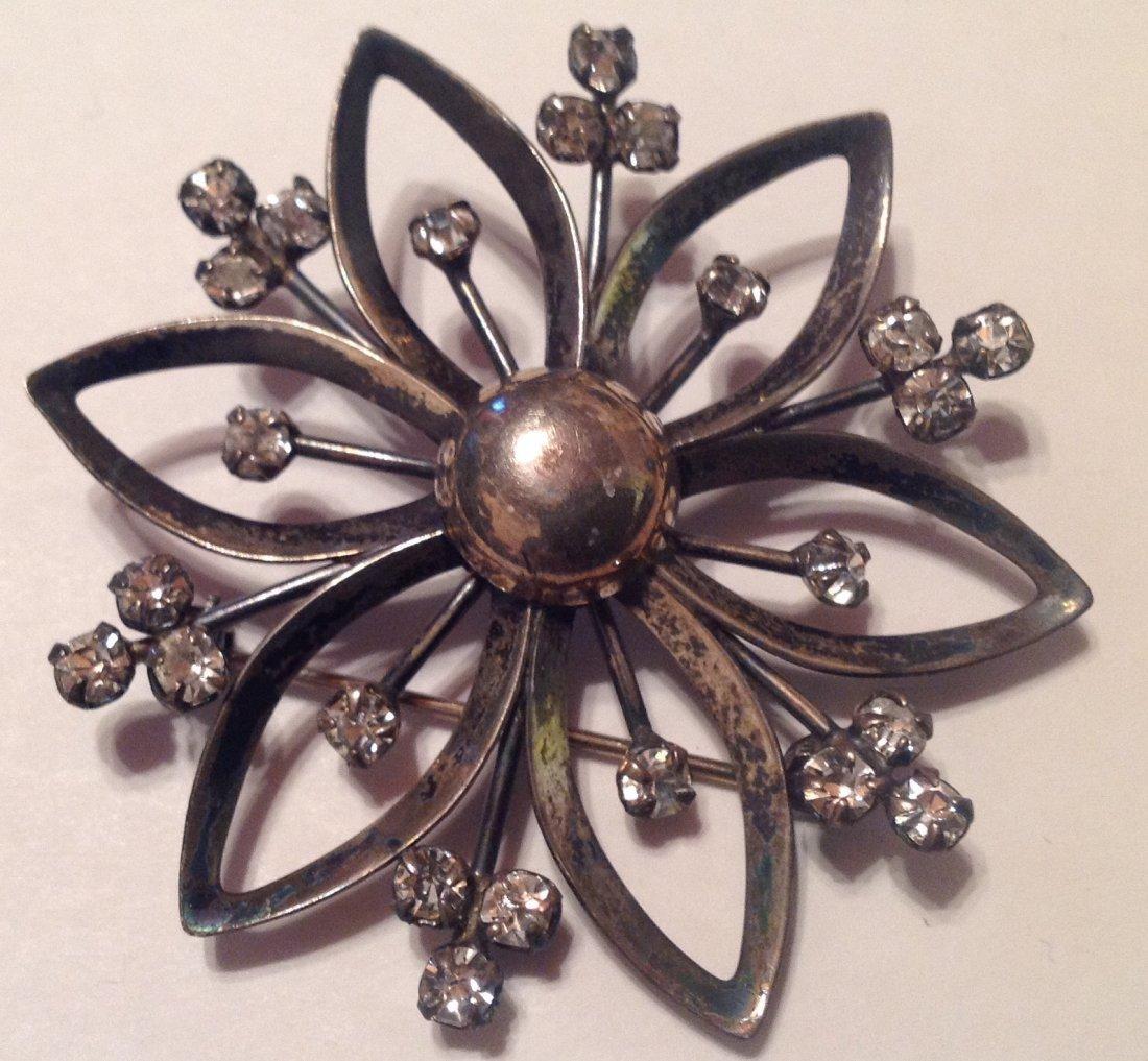 Estate Vintag Sterling Large glass brooch pendant (S)