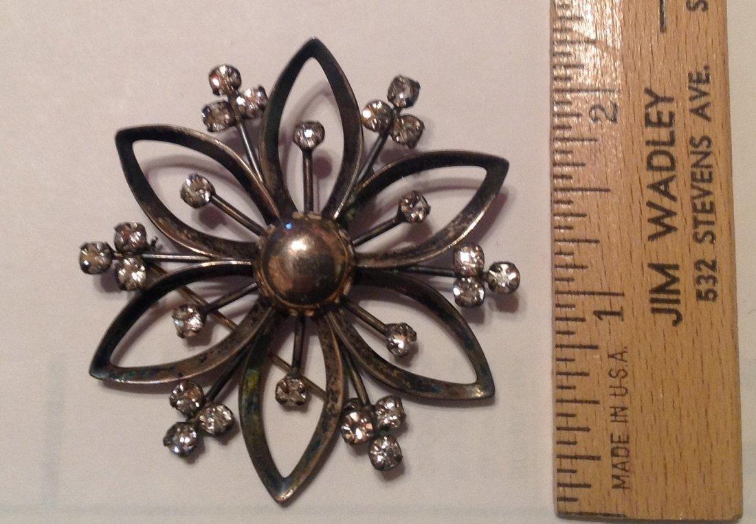 Estate Vintag Sterling Large glass brooch pendant (S) - 2