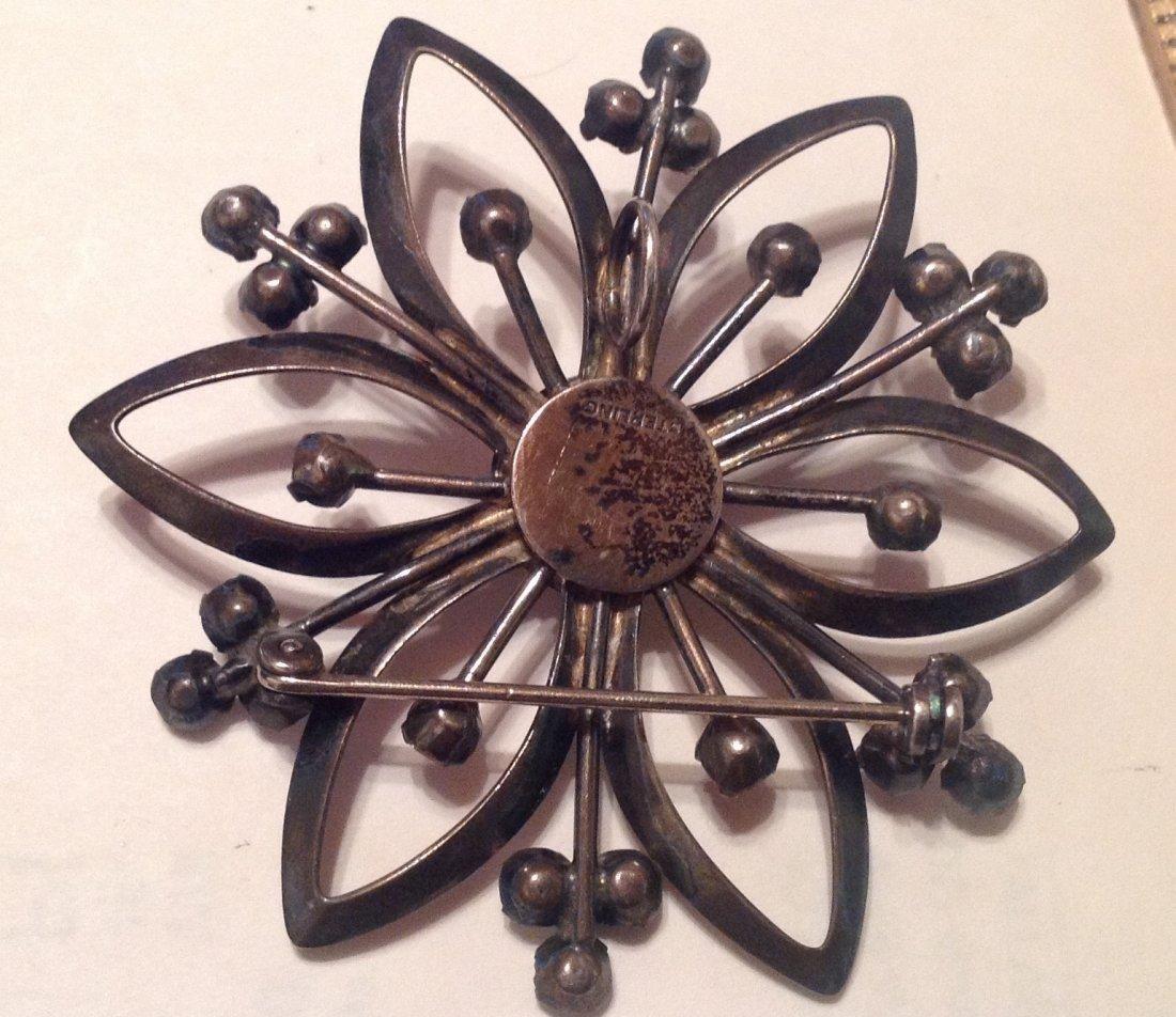 Estate Vintag Sterling Large glass brooch pendant (S) - 3