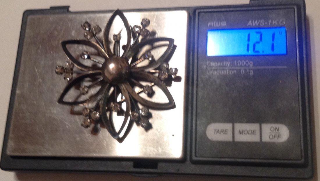 Estate Vintag Sterling Large glass brooch pendant (S) - 5