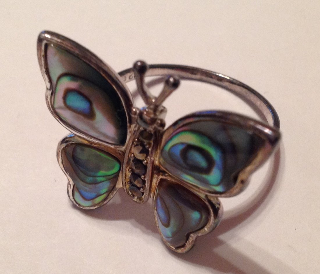 Estate Sterling Large abalone butterfly ring (S)