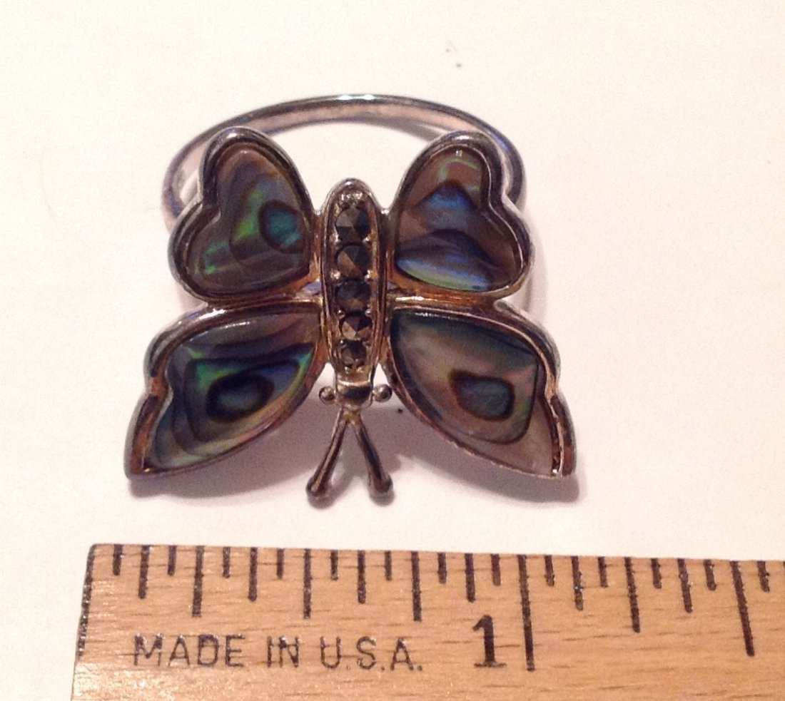 Estate Sterling Large abalone butterfly ring (S) - 2